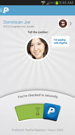 PayPal mobile screen shot