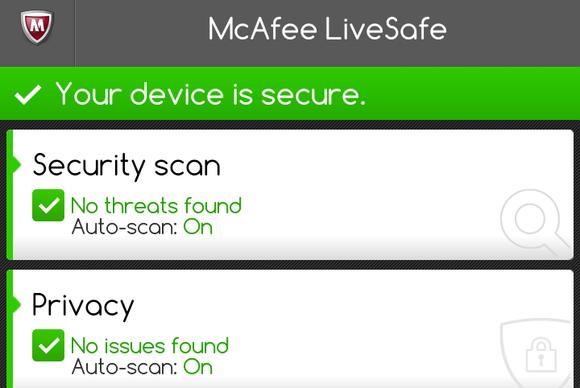 McAfee LiveSafe 2014 Android screenshot