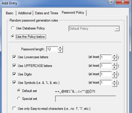 password safe policy gallery