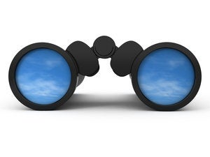 binoculars reflecting the sky 152956482