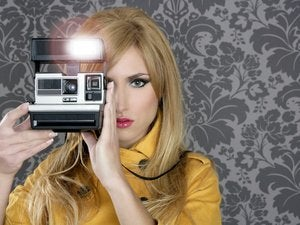 fashion photographer retro camera reporter woman vintage wallpaper yellow coat 122608776
