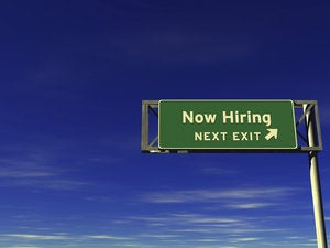 now hiring freeway exit sign 118611210