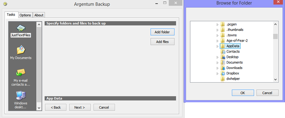 argentum backup template setup