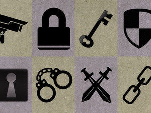 Security symbols lock key shield