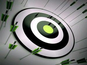 Missed target arrows bullseye