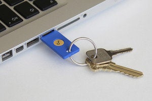 security key by yubico in usb port on keychain