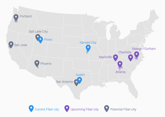 google fiber cities jan. 2015