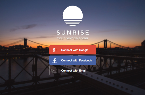 sunrise calendar landing page