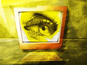 eye on computer monitor showing privacy security or breach