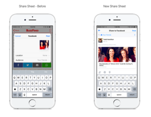 Facebook sharing on iOS