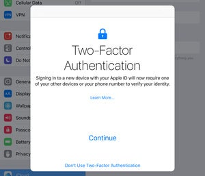 2fa invitation screen ios