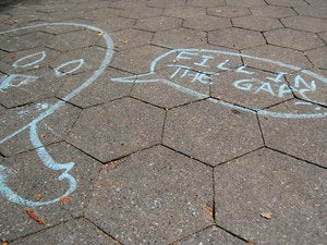 fill in the gaps chalk art street