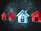 row of houses icons on computer screen with security locks