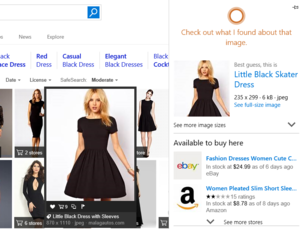 Microsoft edge little black dress Cortana results