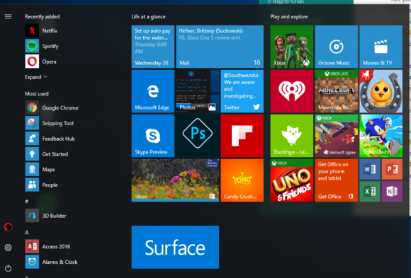 windows 10 au start menu