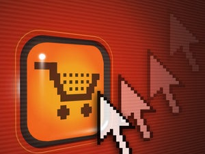 red illustration of online shopping cart icon with arrows pointing at button