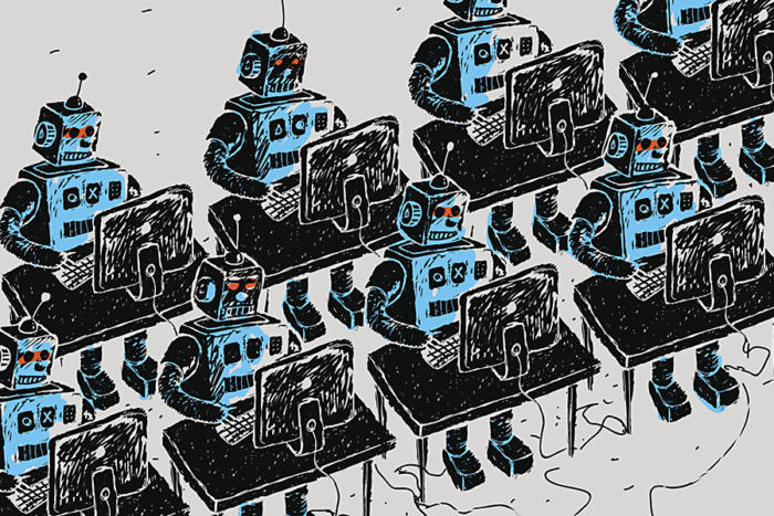 robots pc computers army desks work